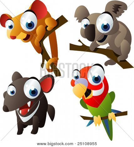 animal Vector set 66: Australia: bandicoot, koala, demonio de Tasmania, Lori