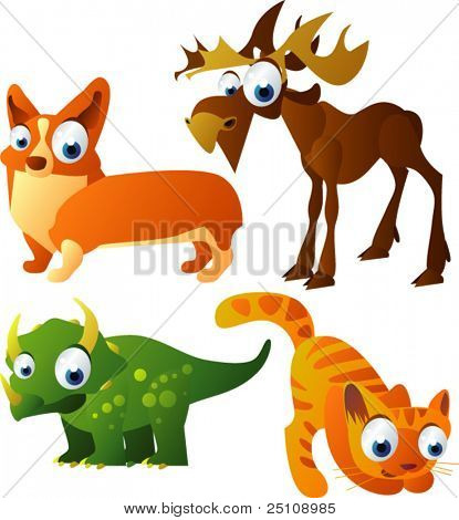 vector animal set 70: elk, cat, triceratops, dog