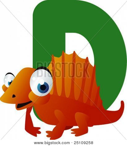 vector dino alphabet: D is for dimetrodon