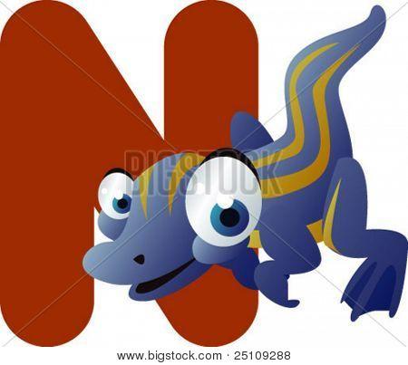 vector dino alphabet: N is for nothosaurus