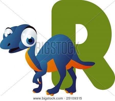 vector dino alphabet: R is for riojasaurus
