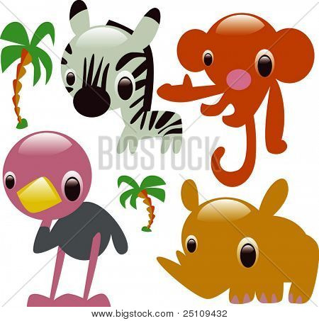 vector glossy animals: safari