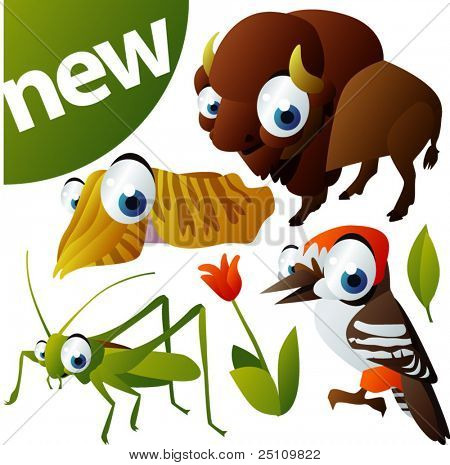 vector animal set 275: bison, woodpecker, cuttlefish, grasshopper
