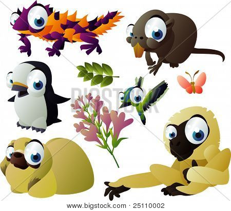 2010 animal set: thorny devil, nutria, penguin, hummingbird, gibbon, shitsu