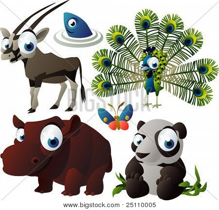 2010 animal set: antelope, peacock, hippo, panda