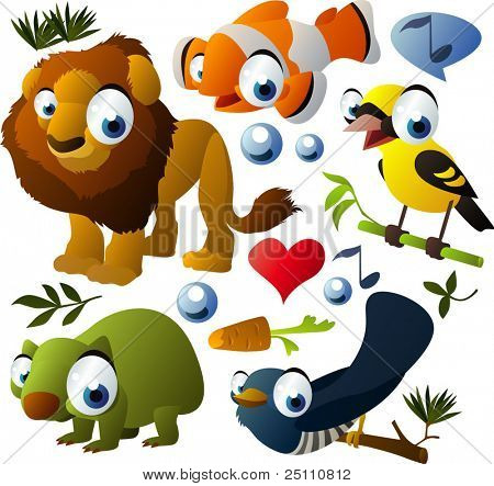 vector animals set: lion, golden oriole, clown fish, wombat, cuckoo