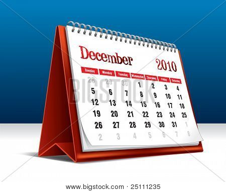 Vector illustration of a 2010 desk calendar showing the month December