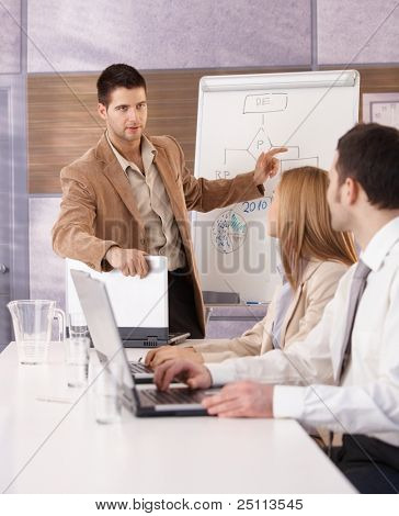 Goodlooking young businessman presenting over whiteboard to colleagues.?