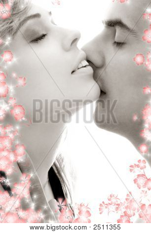 Monochrome Gentle Kiss With Flowers