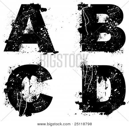 Grunge inked vector letters, see my portfolio for other letters.