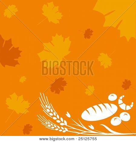 Autumn background with bread, rolls and wheat sign