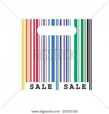 vector illustration of abstract shopping bag with barcode