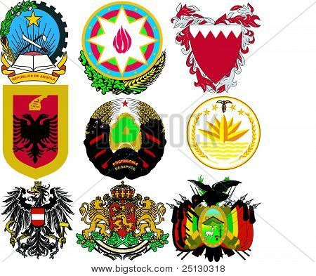 Vector Set Of Coats Of Arms Of The World