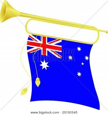 Vector Illustration Bugle With A Flag Australia