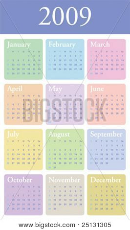 Clean pastel color 2009 yearly calendar in vector format for you to edit, reduce or enlarge