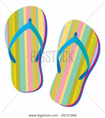 Summer retro flip flops in Vector