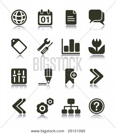 Internet Web icons with reflections. Black & white series PART 2