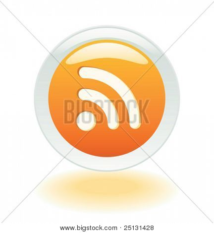 Brillante botón RSS Feeds en formato vectorial