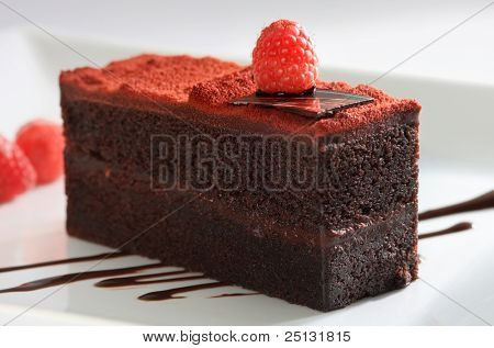 Chocolate layered cake topped with dusted sweet and raspberry