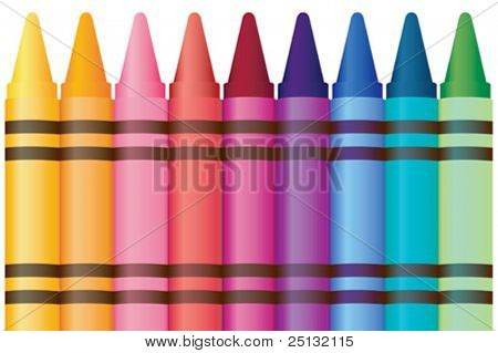 Collection of crayons in rainbow colors