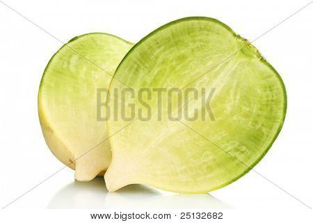 sliced green radish isolated on white