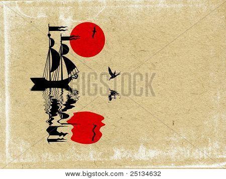 sailfish on grunge background