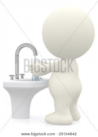 3D man washing his hands - isolated over a white background