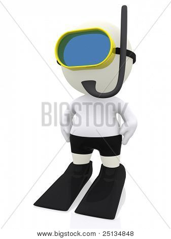 3D man snorkeling - isolated over a white background