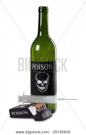 Color photo of a pack of cigarettes and a bottle of wine