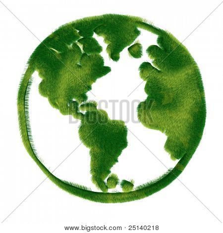 The World Globe Made of Realistic Green Grass. An Eco Friendly Concept