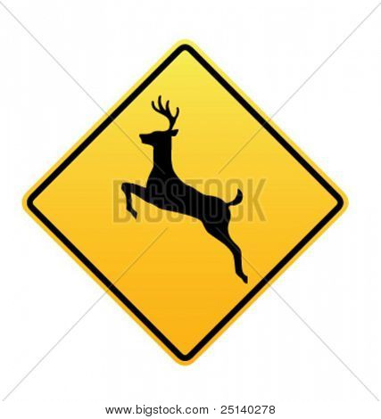 Deer Crossing - Vector Road Sign Icon