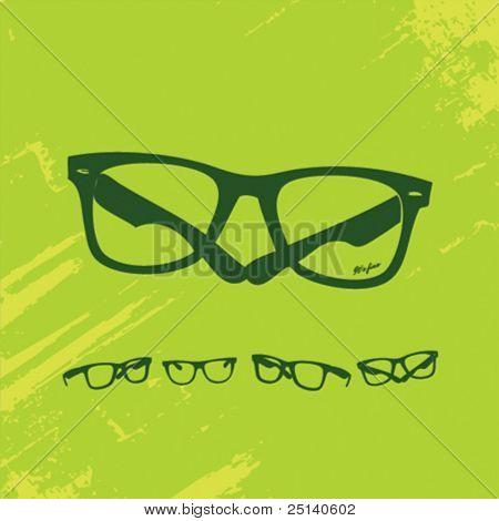 Hip Glasses Set on Grunge Background