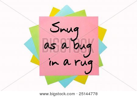 "Proverb "" Snug As A Bug In A Rug "" Written On Bunch Of Sticky Notes"