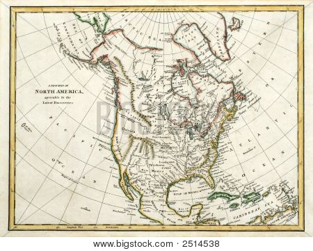 Map Of North America Dated 1791.