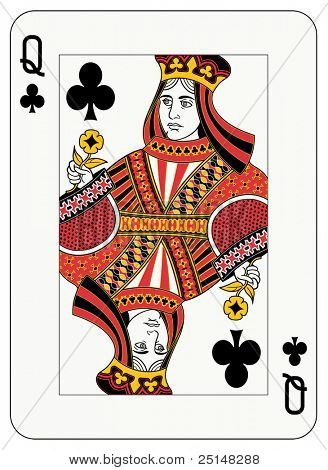 Queen Club Playing Card