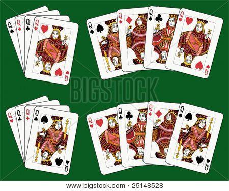 Jugando a las cartas: cuatro reinas en cuatro diversos arreglos (fondo verde en un nivel separado)