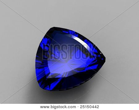 Jewelry gems shape of trillion on grey background. Sapphire