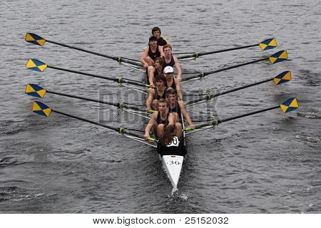 BOSTON - OCTOBER 23: Northampton Youth And Community youth men's Eights races in the Head of Charles