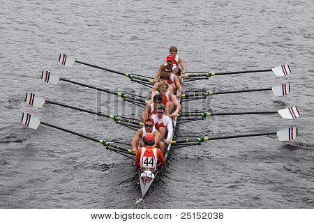 BOSTON - OCTOBER 23: Old Dominion Boat Club youth men's Eights races in the Head of Charles Regatta.