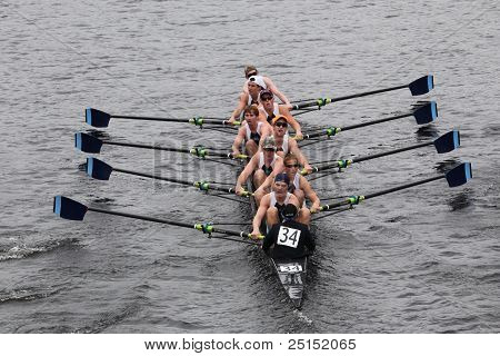 BOSTON - OCTOBER 23: St. Augustine Preparatory High School youth men's Eights races in the Head of C