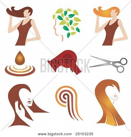 Hair cosmetic icon set.eps