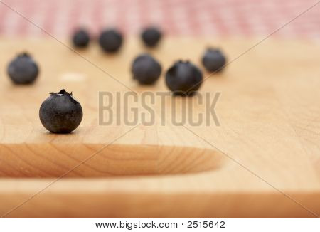 Blueberries On A Cutting Board