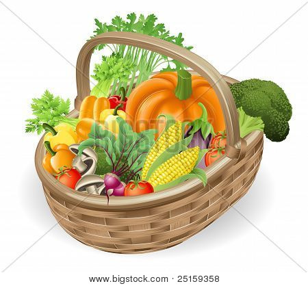 Basket Fresh Vegetables