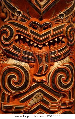 Wood Carving In Maori Meting House