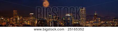 Moon Over Portland Oregon City Skyline At Dusk
