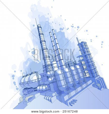 Chemical plant & watercolor background. Bitmap copy my vector id 16555093