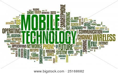 Mobile technology concept in tag cloud on white