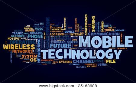 Mobile technology concept in tag cloud on black