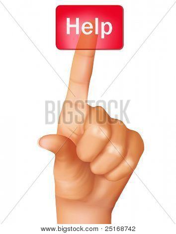 Ein Finger schieben weitere Hilfe. Vektor-Illustration.