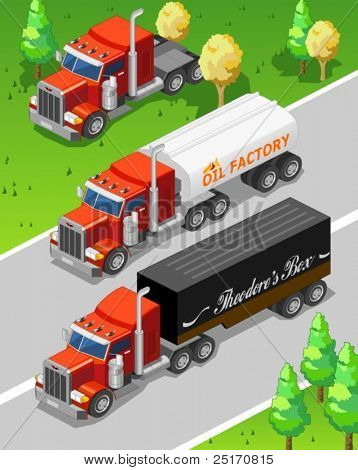 Isometric Big Truck Detailed